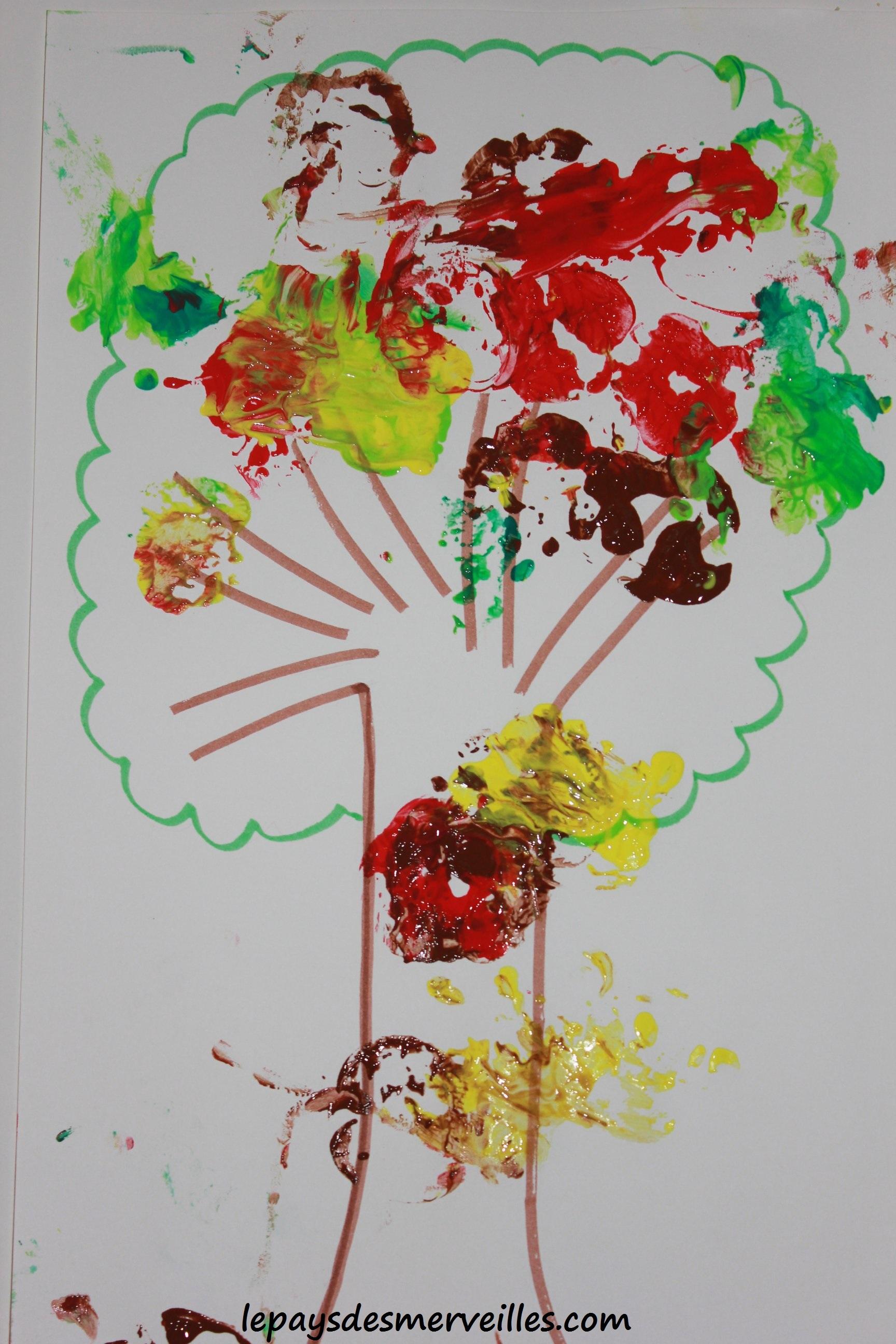 Bricolage d 39 automne peindre avec une pomme le pays - Bricolage avec pomme de pin ...