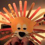 masque lion batonnet bois