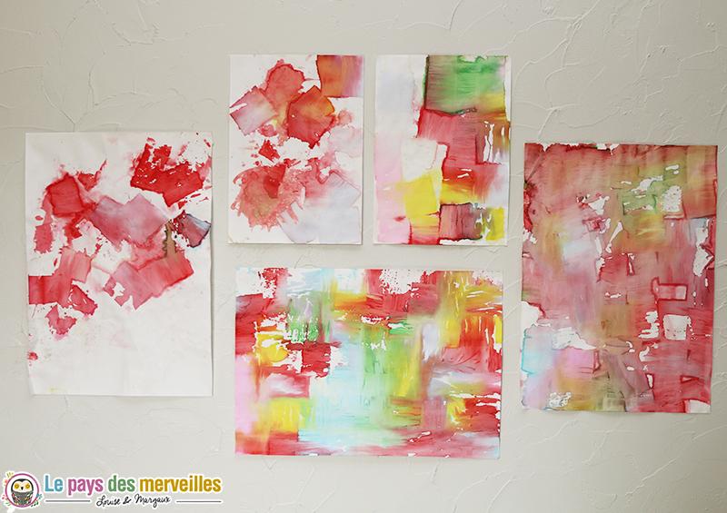 Peindre avec du papier cr pon color et de l 39 eau - Activite avec papier crepon ...