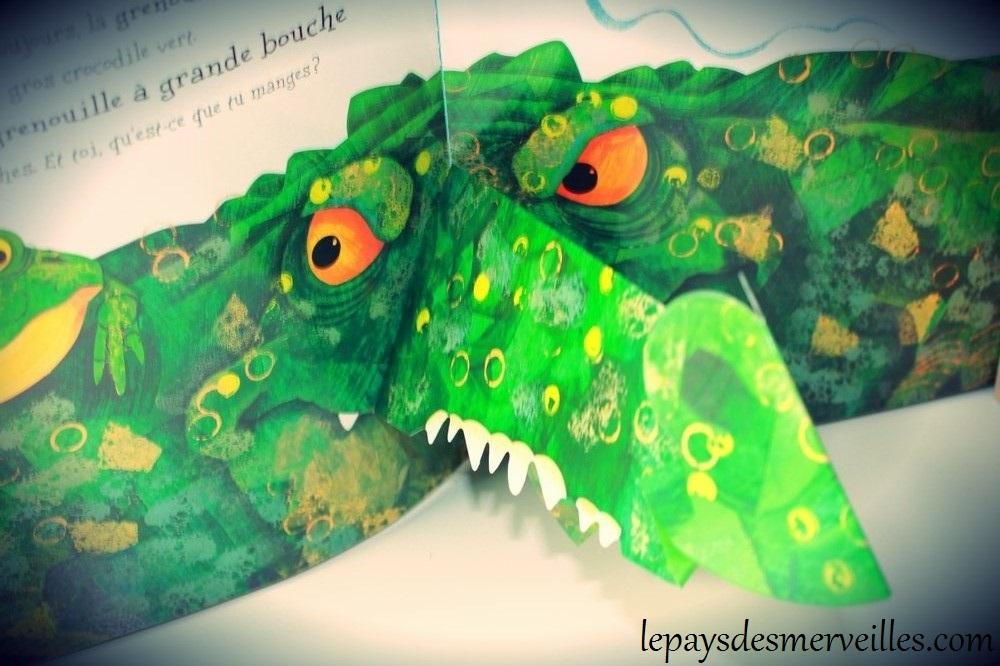 Illustration pop-up du livre la grenouille à grande bouche