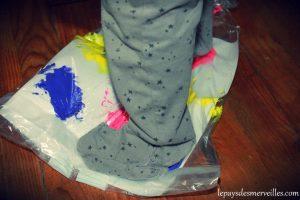 marcher sur un sac de peinture propre