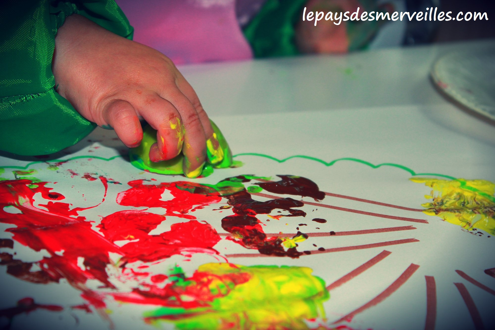 Peindre avec une pomme le pays des merveilles for Peindre avec un pistolet a peinture