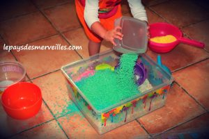 riz coloré transvasement