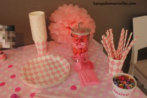 sweet table anniversaire rose