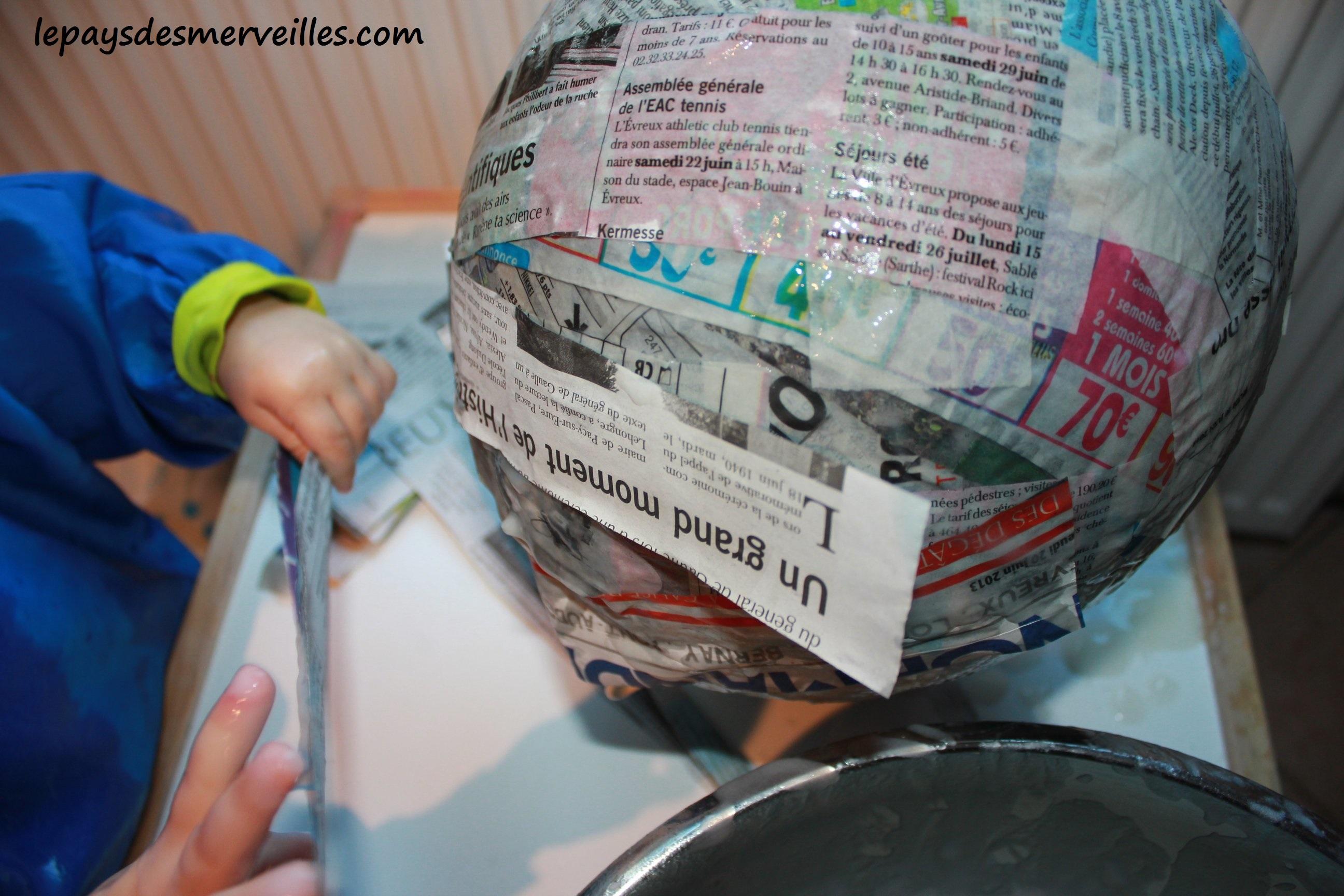 Citrouille En Papier Mache Avec De La Colle Maison