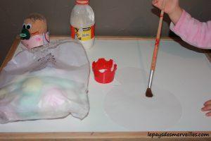 activité bonhomme de neige avec du coton et peinture (7)