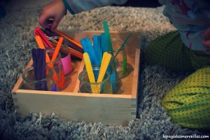 Plateau montessori reconnaitre les couleurs
