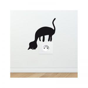 stickers pour prise electrique - chat curieux