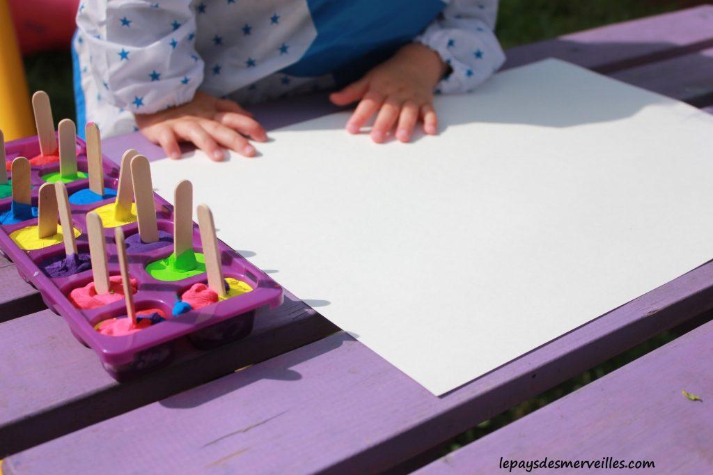 Peinture glaçons gouache - activité manuelle enfant (1)