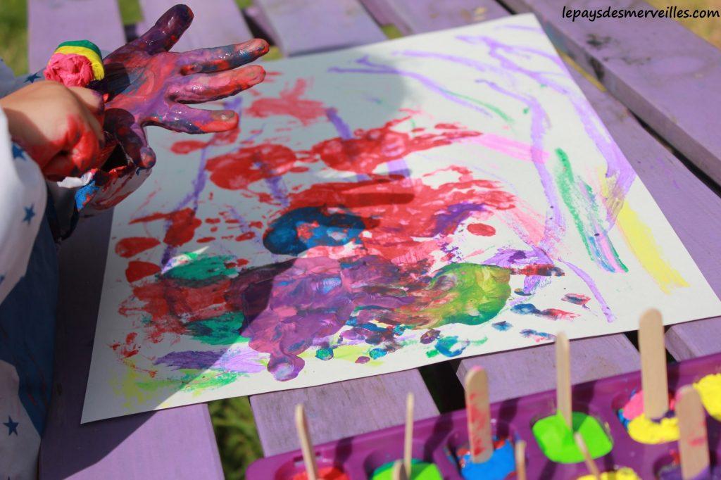 Peinture glaçons gouache - activité manuelle enfant (10)