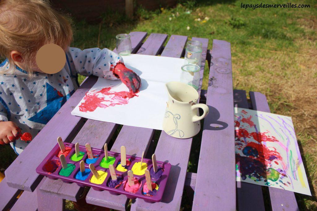 Peinture glaçons gouache - activité manuelle enfant (12)