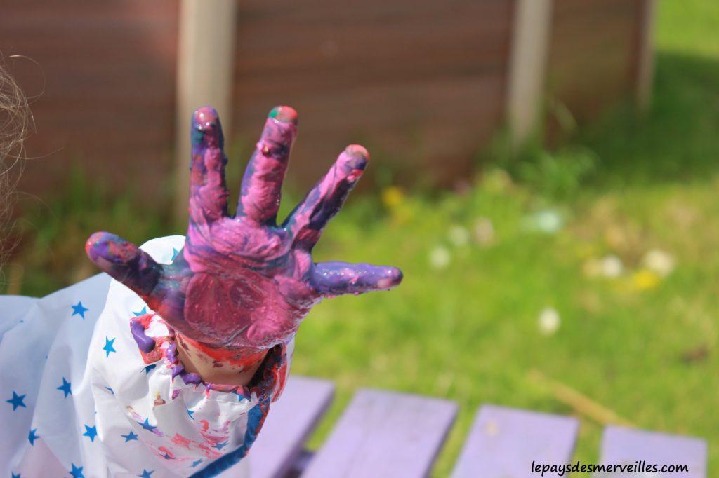 Peinture glaçons gouache - activité manuelle enfant (14)