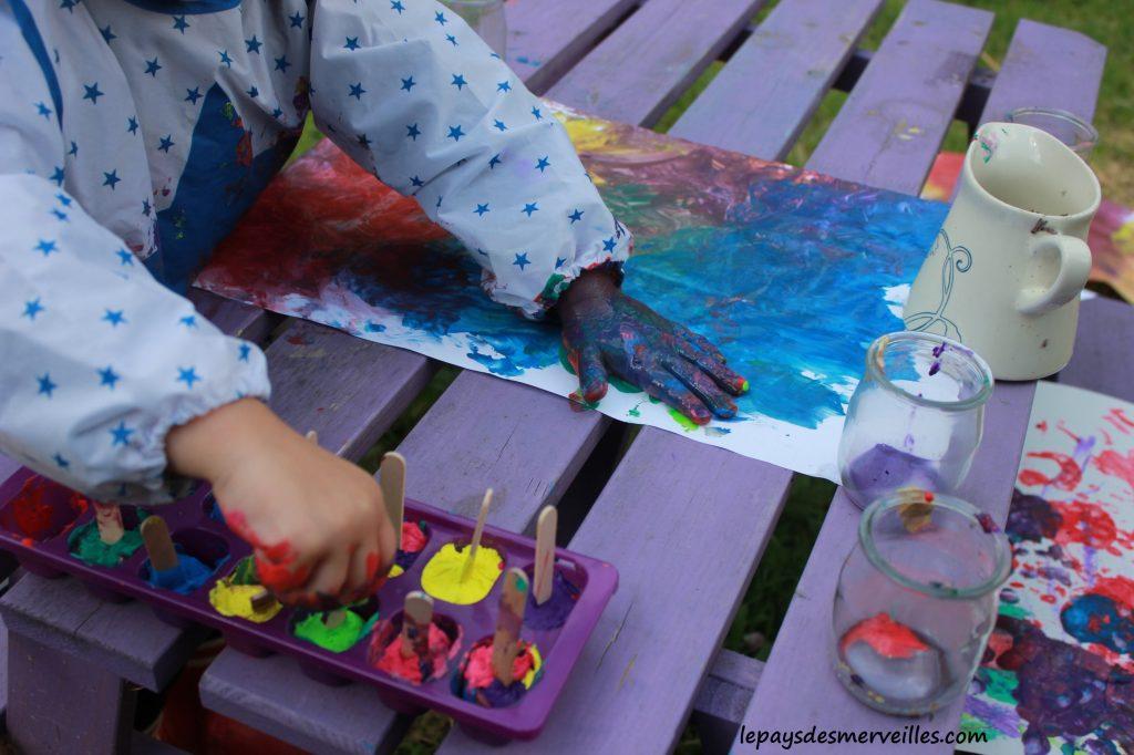 Peinture glaçons gouache - activité manuelle enfant (15)