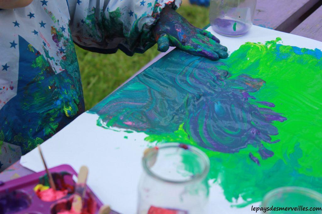 Peinture glaçons gouache - activité manuelle enfant (16)