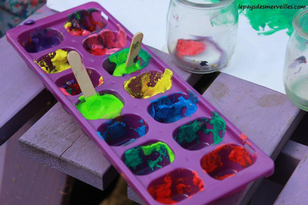 Peinture glaçons gouache - activité manuelle enfant (17)