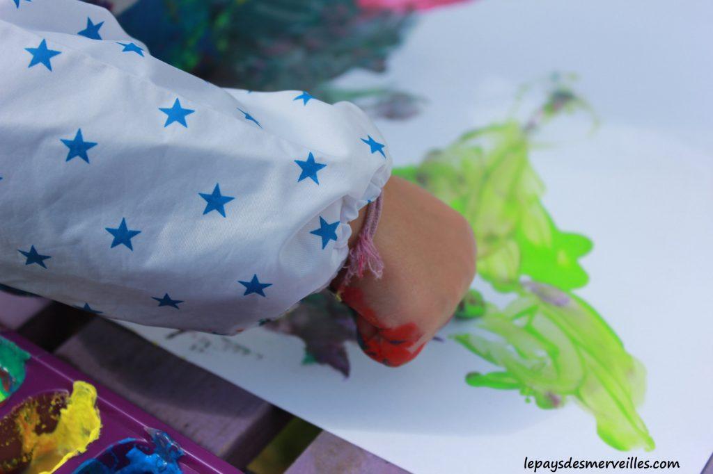 Peinture glaçons gouache - activité manuelle enfant (19)