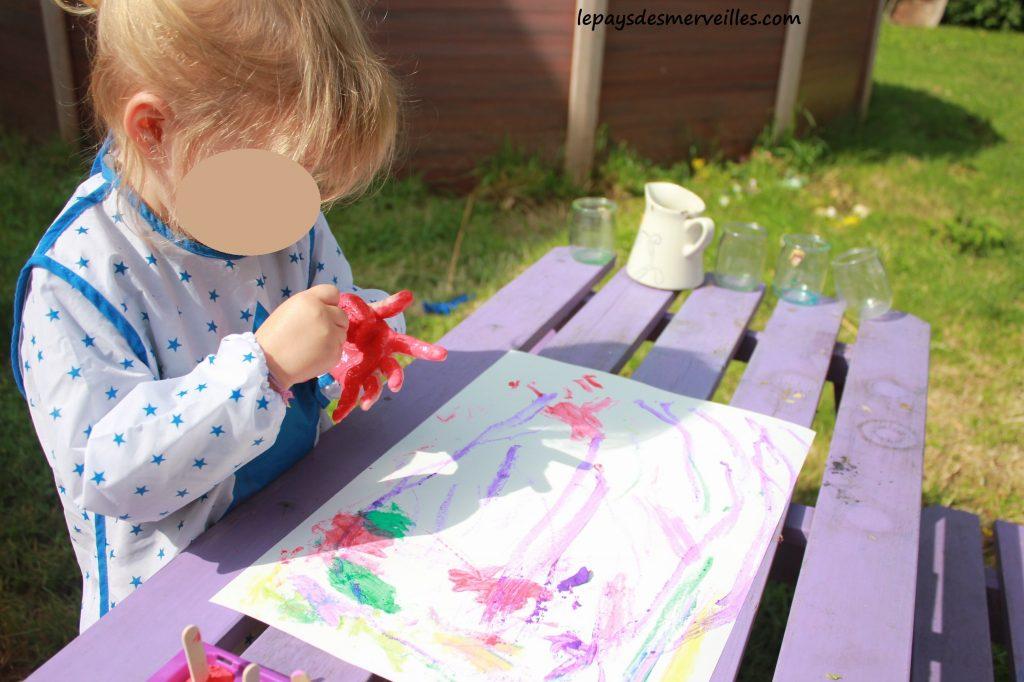 Peinture glaçons gouache - activité manuelle enfant (6)
