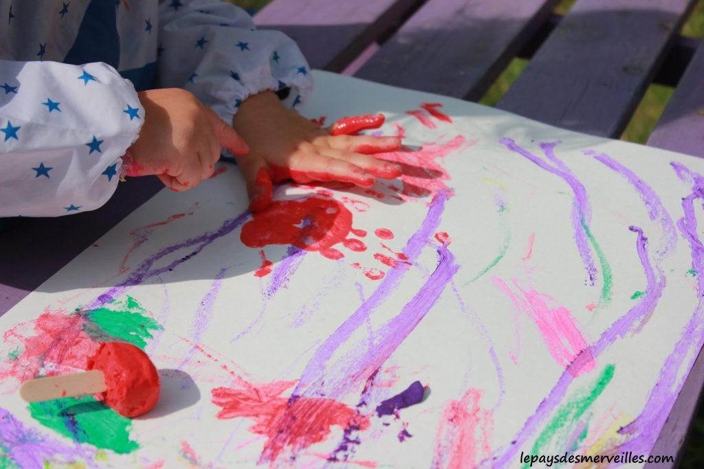 Peinture glaçons gouache - activité manuelle enfant (8)