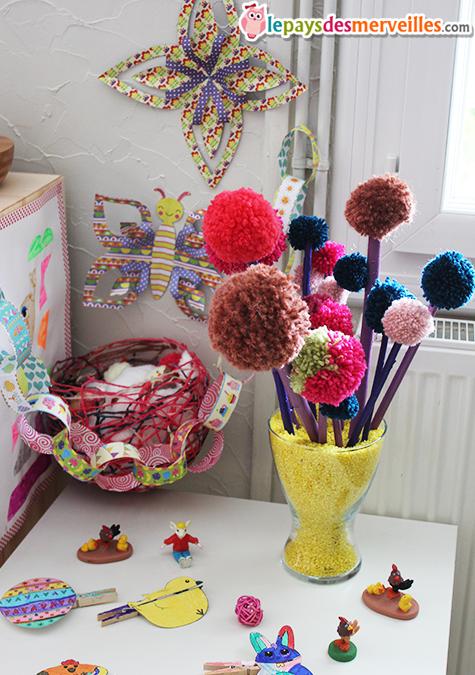 diy son joli bouquet de printemps fait de pompons l art est un jeu d enfant 6 le pays des. Black Bedroom Furniture Sets. Home Design Ideas