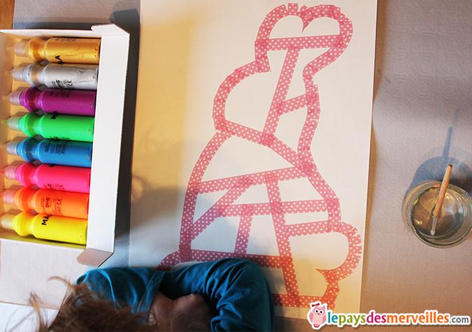 un lapin de p ques r alis avec la technique de la peinture au scotch le pays des merveilles. Black Bedroom Furniture Sets. Home Design Ideas