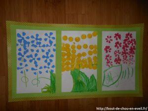 bricolage enfant tampons fleurs