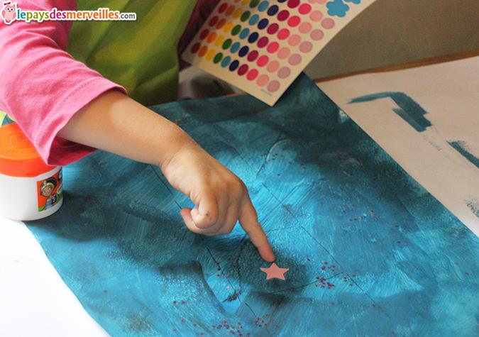 Activit peinture collage viser la lune l art est un for Peinture boiro jeu deffet paillettes