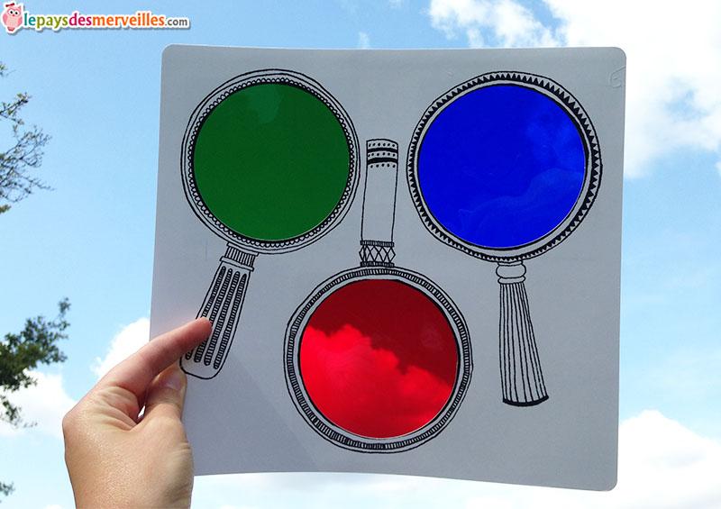 loupe vert rouge bleue