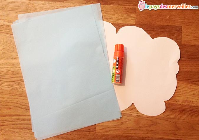 matériel collage papier de soie nuage