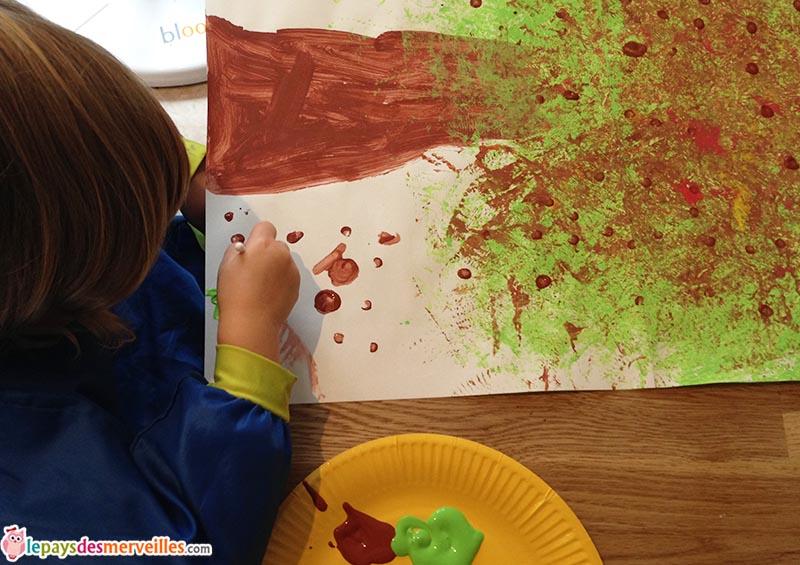 arbre d'automne marronnier peinture
