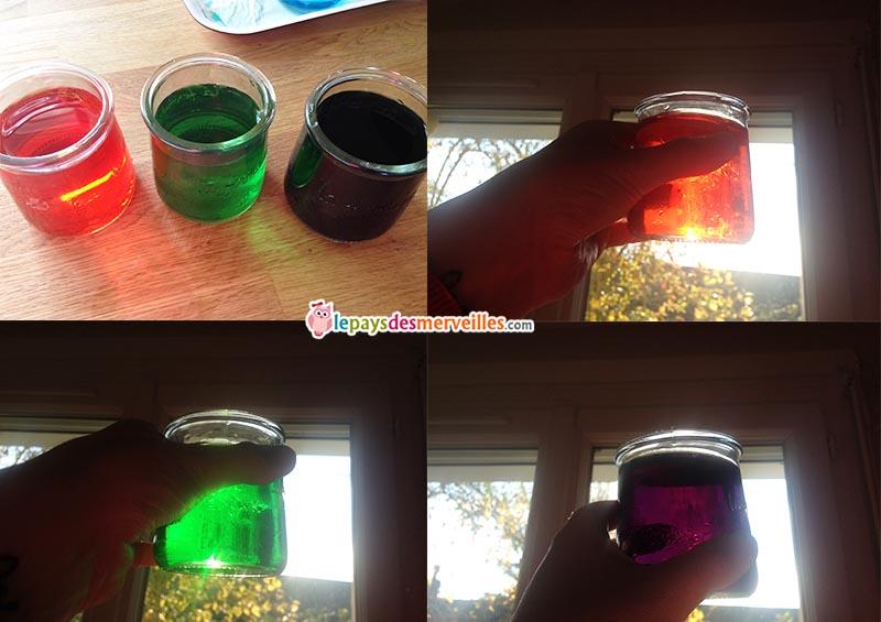 résultat expérience melange couleurs glaçon