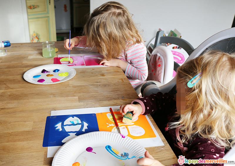 activité pochoir peinture