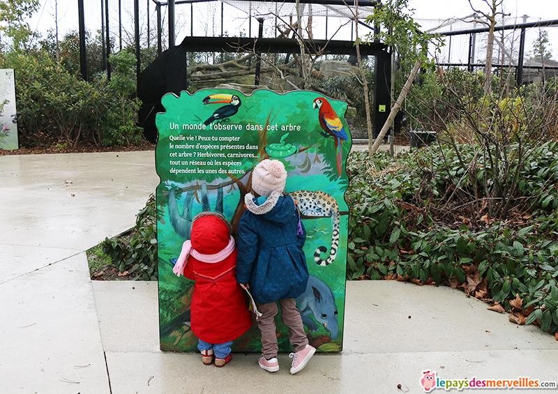 panneau ludique pour les enfants au zoo de paris