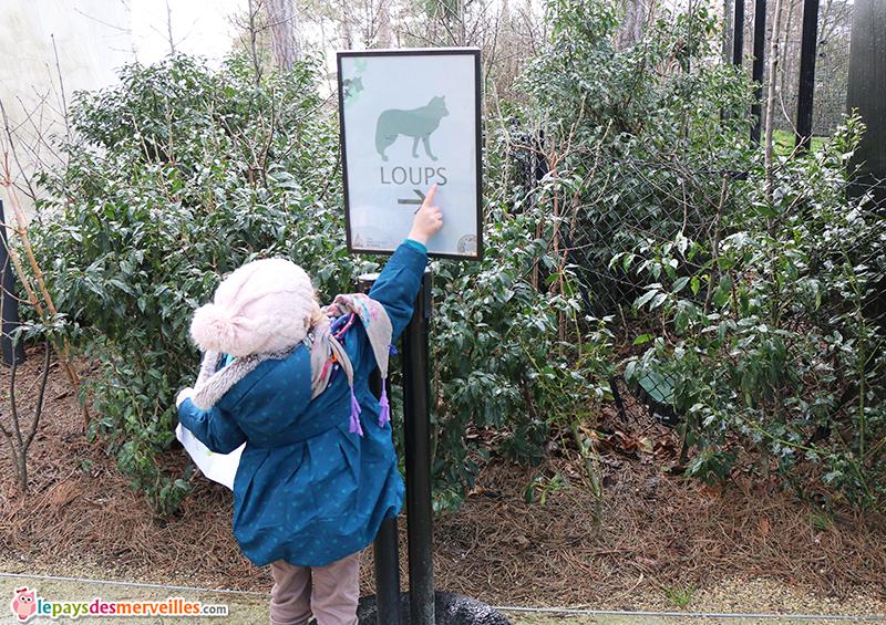 panneaux des loups au zoo de Vincennes