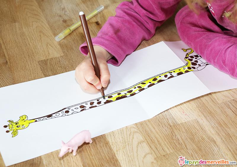 coloriage girafe 4 ans