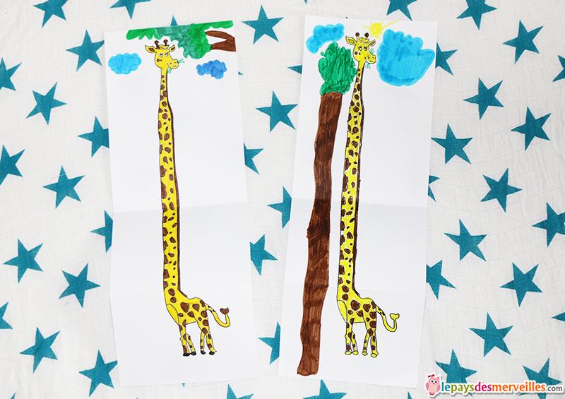 coloriage girafe long cou feuille depliee