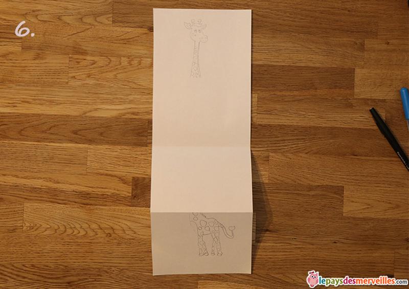 dessin girafe feuille A3