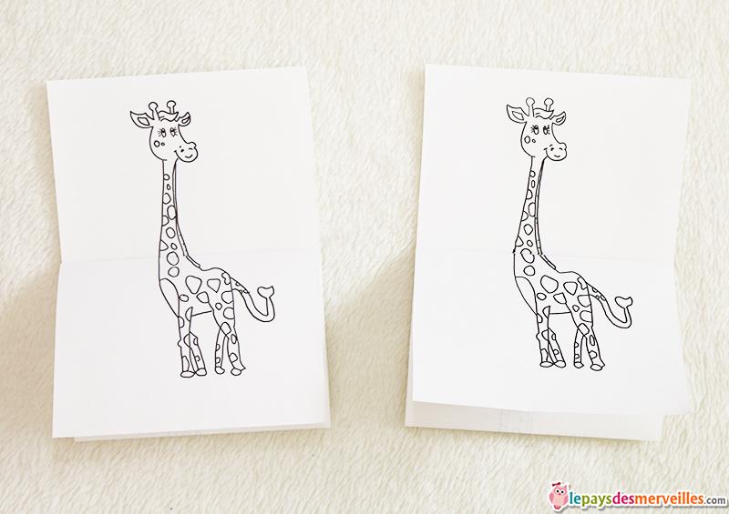dessin girafe feuille pliee