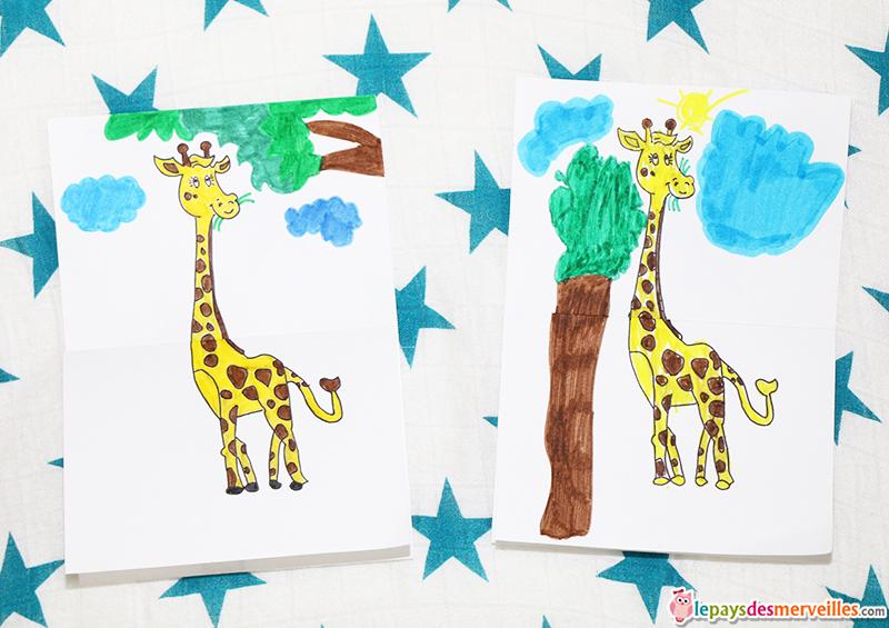 girafe coloriage avant depliage