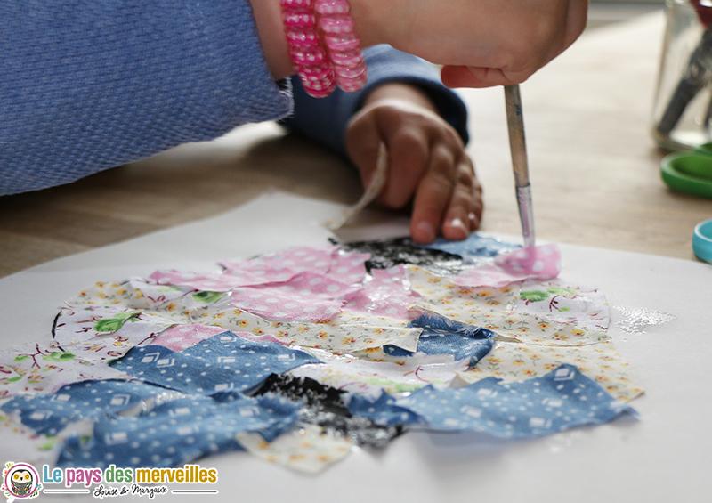 collage enfant morceau tissu