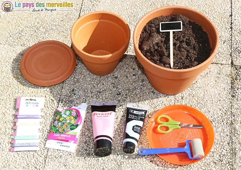 materiel pot de fleurs surprise