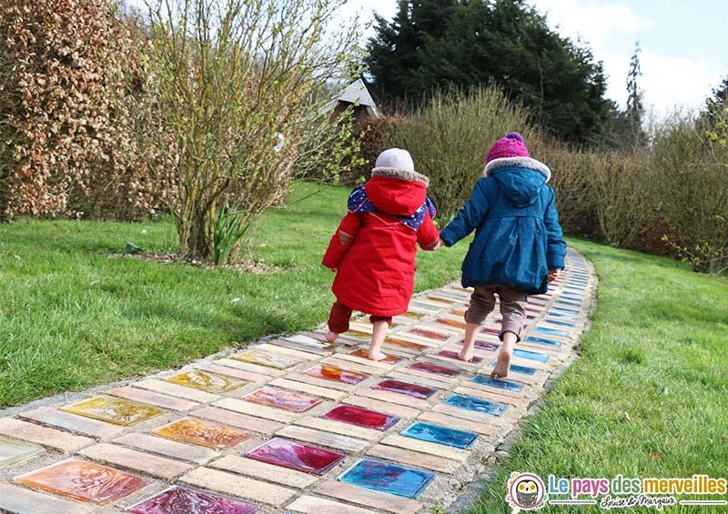 parcours colore pieds nus