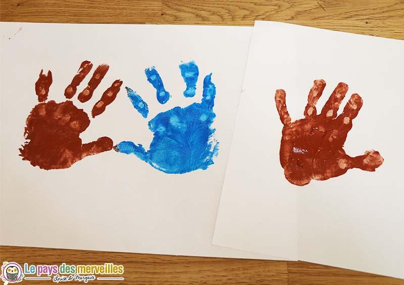 peinture empreinte main coeur