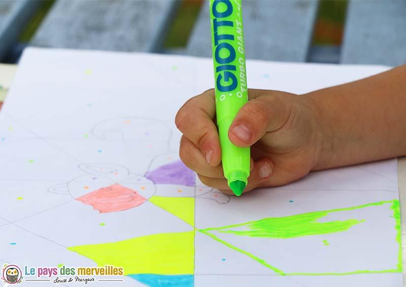 Coloriage magique avec un code couleur - Coloriage relief ...