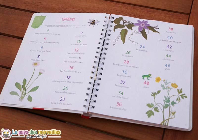 sommaire herbier fleurs