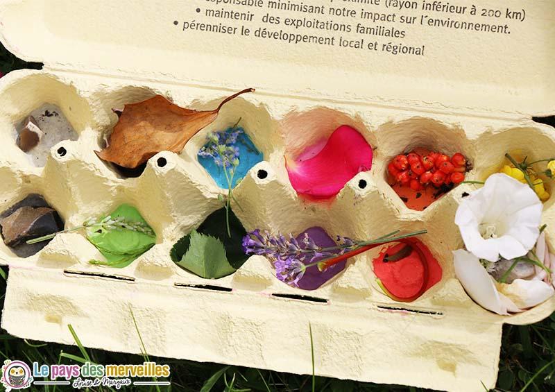 tri couleur boite oeufs peinte