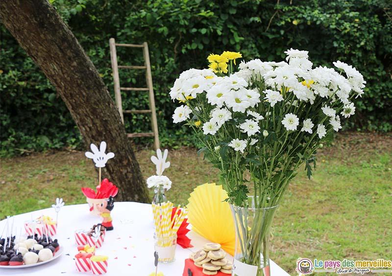 fleurs deco table anniversaire