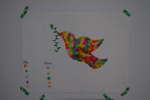 colombe multicolore