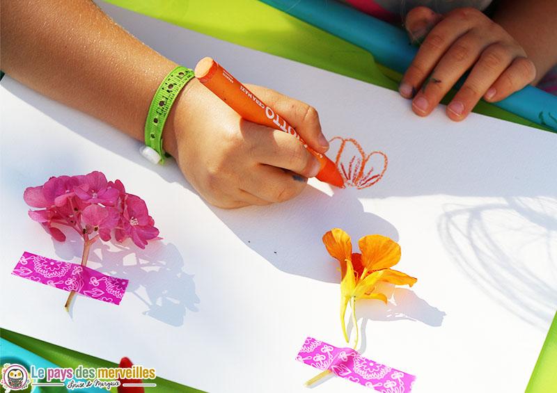 dessin fleur pastel enfant