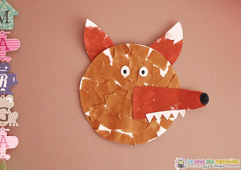 Loup En Papier Dechire Collage Et Peinture Activite Manuelle Des