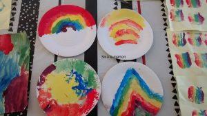 peinture-arc-en-ciel-assiette-carton